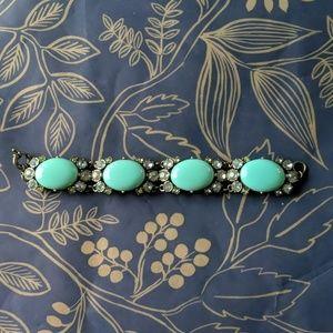 Nwot egg turquoise crystal statement bracelet